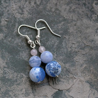 Rose Quartz / Blue Lace Agate / Blue Snow Agate / Earrings / Bead Drop Earrings / Elegant / Gemstone / Womens Blue Earrings /  For Her