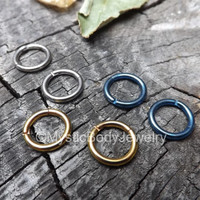 "Rose Gold Segment Ring Clicker Titanium 14g 5/16"" Gauge 8mm Silver Color Blue Septum Piercing Tiny Hoop Earrings Nose Rings Nipple Helix Lip"