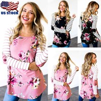 Women Loose Long Sleeve Top Casual Crew Neck Blouse Shirt Striped Floral T-shirt