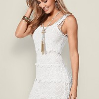 White Tiered Crochet Dress | VENUS