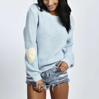 Heart On My Sleeve Cute Applique Knit Sweater