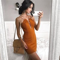 DearDeer Women Dress Fashion Backless Deep V Brown Sexy Dress [11853605071]