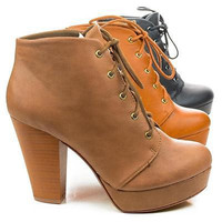 Agenda Lace Up Ankle Bootie w Chunky Stacked Heels