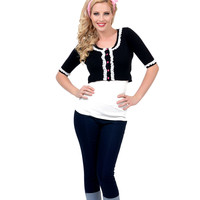 Black & White Lace All Dolled Up Crop Cardigan