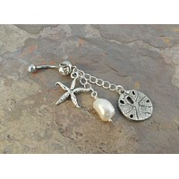 Belly Button Jewelry Ring Starfish Pearl Silver Sand Dollar