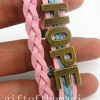 Antique bronze hope cotton rope leather bracelet random combination letters--Customize your own style gift 776