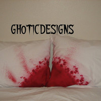 Zombie pillow cases Blood splattered  hand painted custom made scary zombie bedding
