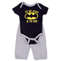 Batman Not Afraid Of The Dark Infant Onesuit Pants Set