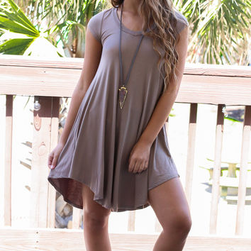 The Last Song Taupe Casual V-Neck T-Shirt Dress