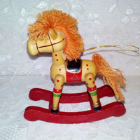 Vintage Wooden Rocking Horse Christmas Tree Collectible Ornament Collectable Home Holiday Decor Toy from Estate Mint Condition