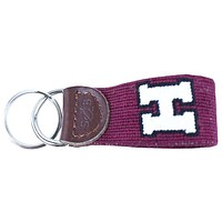 Harvard Needlepoint Key Fob in Red by Smathers & Branson