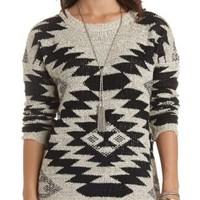 Marled Aztec Pullover Sweater by Charlotte Russe