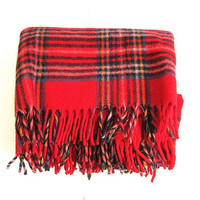 Vintage red and black plaid picnic or camp blanket / small fringed lap blanket