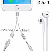 Saking 2 in 1 Earphone Jack Connector Converter Charging Cable For iPhone 7 7 Plus AUX Adapter