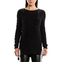 Sen Collection Cruz Zipper Detailed Chunky Sweater in Black | ShopAmbience