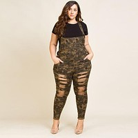 Long Camo Jumpsuit With Pockets