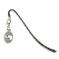 I Love Heart Haters Oval Charm Metal Bookmark