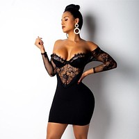 ANJAMANOR Party Club Sexy Dress Black White Lace See Through Off Shoulder Long Sleeve Mini Bodycon Dresses 2019 Spring D52-AC62