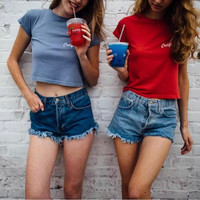 Brandy Melville High Waist Denim Weathered Shorts [9698944015]