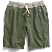 Cut Off Gym Shorts in Washed Olive
