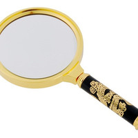90 mm High-Definition Magnifying Glass with Dragon Designed Handle (Golden)