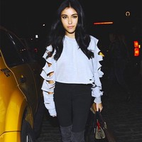 Fashion Personality Hollow Ripped Solid Color Casual Long Sleeve Sweater Women Crop Tops