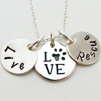 Live Love Rescue Pet Adoption Necklace in Sterling Silver, Hand Stamped can be Personalized, Dog, Cat, Animal Shelter, Pet Rescue, Paw Print
