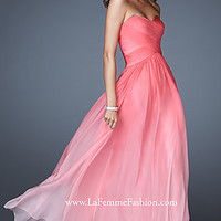 Long Strapless Ombre Gown by La Femme