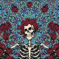 Grateful Dead Skeleton with Roses Blue Tapestry