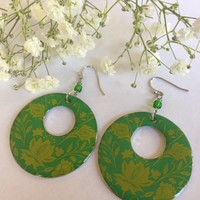 Large Round Green Earrings with Yellow Flowers