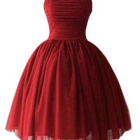 PrettyDresses Women's Short Burgundy Wedding Party Dress Bridesmaid Dresses