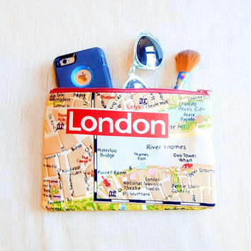 Gift for Women Clutch Purse/ Pencil Case/  Bridesmaid Gift/ Girlfriend Gift/ London Map Gift for her/ Wife Gift/ Christmas Gift/ Mom Gift/