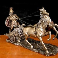 Roman Charioteer Statue Chariot and Two Horses Olympic Games Greek Myth 10L