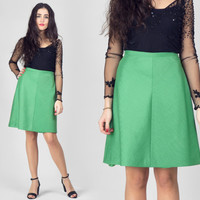 70s Green A Line Skirt / Emerald High Waist Plain Minimalist Skirt / Cute Preppy Femenine Flared Medium M Skirt