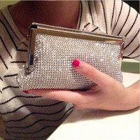 2016 woman bag new fashion evening bags messenger shoulder two-sided diamond party wedding purse hand bags Free Shipping
