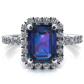 Talia Emerald Alexandrite 4 Prong Halo 5/8 Micropave Engagement Ring