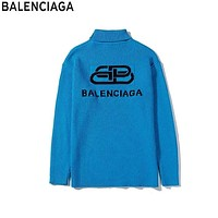 Balenciaga 2019 new knit double B jacquard letter high collar sweater blue