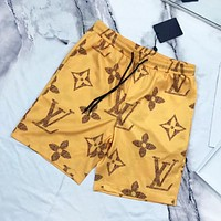 LV Louis Vuitton New fashion monogram print couple shorts Yellow