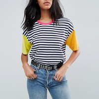 ASOS Top in Cutabout Color Block Stripe at asos.com