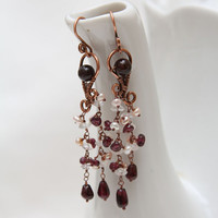 Copper earrings with garnet, cristal quartz and freshwater pearls, gift for capricorn, January trend