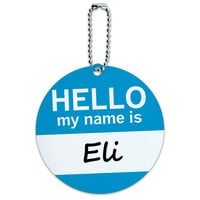 Eli Hello My Name Is Round ID Card Luggage Tag