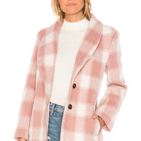 Endless Rose Oversized Checkered Printed Jacket in Nude Pink