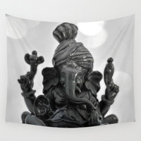 Ganesha - Wall Tapestry, Light Gray Boho Interior Hanging, Zen Asian Elephant Home Decor. Available in Sizes 51x60 / 68x80 / 88x104 Inches