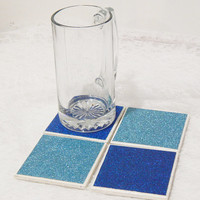 Glam Tile Coasters  in Glitter Light and Dark Blue Theme with Foamed Backs (4)