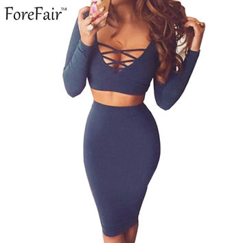 New women sexy hollow out bandage bodycon club party dresses two piece outfits long sleeve midi slim winter autumn dress