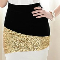 Shiny bling black and white and golden skirt from Fanewant