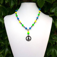 Peace Sign Neon Necklace in Gunmetal, Bohemian Beaded Hippie Jewelry, Blue and Green and Yellow