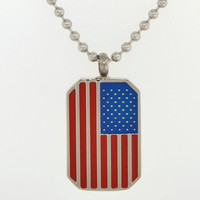 American Flag Dog Tag Cremation Jewelry Pendant Keepsake Urn w/ Ball Chain