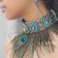 Art Deco Feathered Collar by kuzmadesign on Etsy