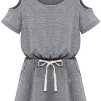 Grey Cut-Out Short Sleeve Drawstring Mini Dress